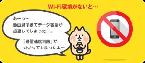 Wi-Fi環境がないと、データ容量が超過して通信速度制限が掛かってしまう