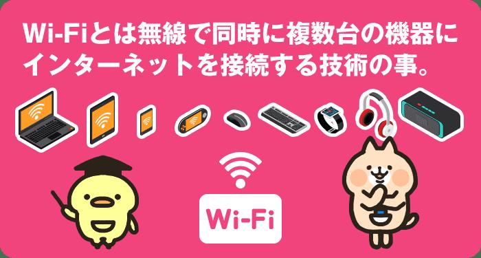 Wi-Fiとは無線で同時に複数台の機器に インターネットを接続する技術の事。