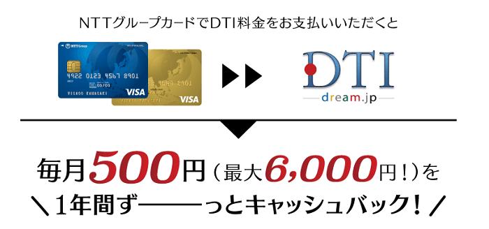 dti wimaxはカード支払いで1年間ずっとキャッシュバック