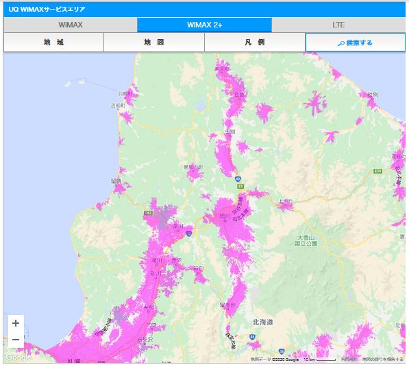 UQ WiMAXの旭川エリア