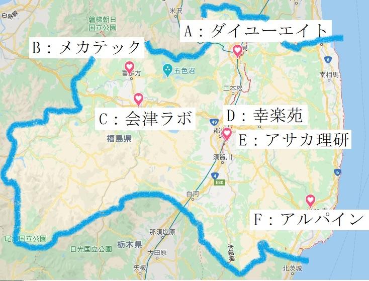 福島県の主な企業