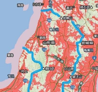 山形県のソフトバンクポケットWi-Fiのエリアマップ