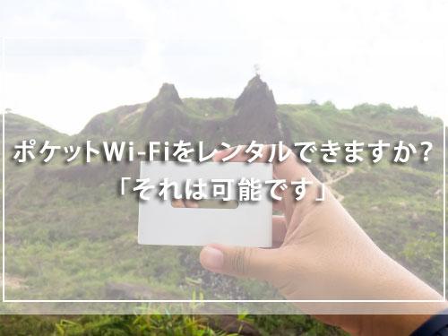 ポケットWi-Fiをレンタルできますか?「それは可能です」