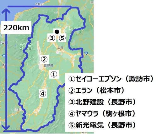 長野県の優良企業の場所