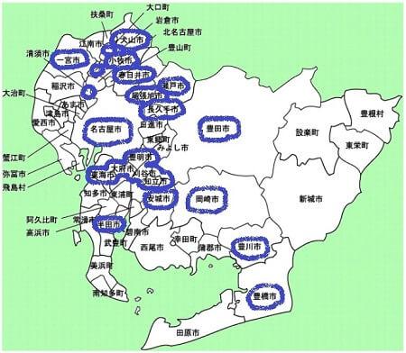 愛知県の市区町村マップ