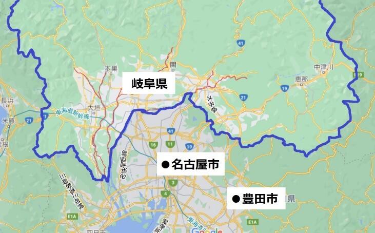 岐阜経済圏の地図