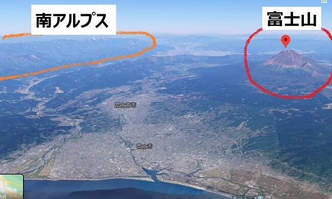 富士山と南アルプスの位置