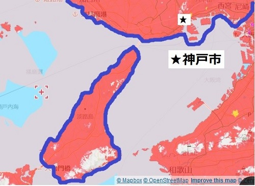 神戸市と淡路島のエリアマップ
