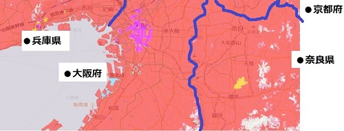 大阪府中部のエリア